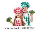 Happy chef kids holding broccoli - isolated - stock photo