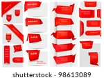 big collection of red origami... | Shutterstock .eps vector #98613089