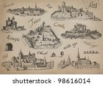 old town set illustration | Shutterstock . vector #98616014
