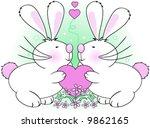 bunny love vector. | Shutterstock .eps vector #9862165