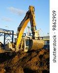 hydraulic excavator at work....   Shutterstock . vector #9862909