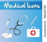 medical icons over blue... | Shutterstock .eps vector #98630789
