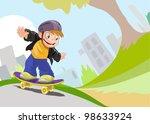 boy on skateboard | Shutterstock .eps vector #98633924