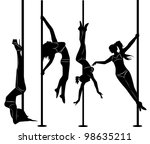 Set Of Black Silhouettes Of...