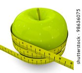 green apple with measuring tape   Shutterstock . vector #98636075
