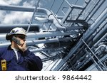 engineer in hard hat with large ... | Shutterstock . vector #9864442