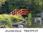 A Red Bridge In A Japanese...