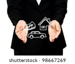 home, car and money in business hands - stock photo
