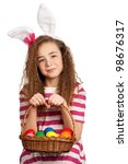 happy girl with bunny ears ... | Shutterstock . vector #98676317