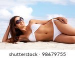 image of female in white bikini ... | Shutterstock . vector #98679755
