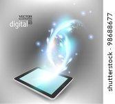 modern blue tablet with digital ... | Shutterstock .eps vector #98688677