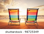 hawaiian vacation sunset... | Shutterstock . vector #98725349