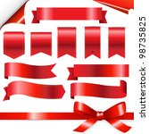 big red ribbons set  isolated... | Shutterstock .eps vector #98735825