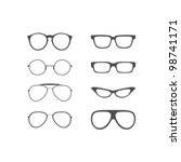 vector glasses shapes set