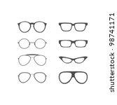 vector glasses shapes set