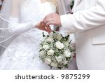 a groom puts on a wedding ring... | Shutterstock . vector #9875299