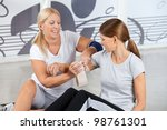 first aid from fitness trainer... | Shutterstock . vector #98761301