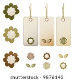 earth tone floral stickers and... | Shutterstock .eps vector #9876142