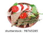 light feta slices on wooden... | Shutterstock . vector #98765285
