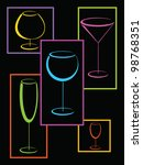 colorful glasses of alcohol... | Shutterstock .eps vector #98768351