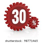 one percent icon made with two red cogwheels and the number 30 - stock photo