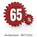 one percent icon made with two red cogwheels and the number 65 - stock photo