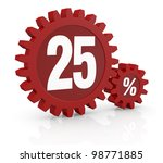 one percent icon made with two red cogwheels and the number 25 - stock photo