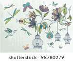 Hand Drawn Floral Background...