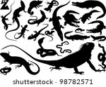 collection of silhouettes of... | Shutterstock .eps vector #98782571