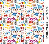 cute music icon seamless pattern | Shutterstock .eps vector #98784047