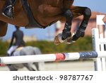 Stock photo horse jump a hurdle in a competition horse jump 98787767