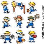 cartoon sport icons | Shutterstock .eps vector #98798309