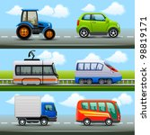 transport icons on the road   Shutterstock .eps vector #98819171