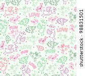 seamless pattern wit bird... | Shutterstock .eps vector #98831501