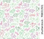 seamless pattern wit bird... | Shutterstock .eps vector #98831501