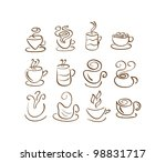 cup silhouettes. coffee and tea.... | Shutterstock .eps vector #98831717