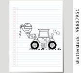 vector excavator dozer doodle | Shutterstock .eps vector #98837951