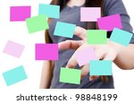 business lady pushing note... | Shutterstock . vector #98848199
