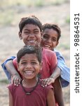 three happy indian kids | Shutterstock . vector #98864531