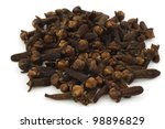 dried cloves on a white... | Shutterstock . vector #98896829