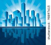 city of skyscrapers. rasterized ... | Shutterstock . vector #98897615
