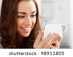 pretty young woman using mobile ...   Shutterstock . vector #98911805