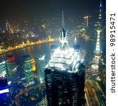 overlooking shanghai at night... | Shutterstock . vector #98915471