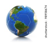 3d globe on soccer ball... | Shutterstock . vector #98958674