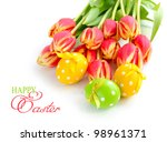 easter eggs with tulips on... | Shutterstock . vector #98961371