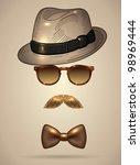 vintage silhouette of fedora... | Shutterstock .eps vector #98969444