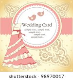 wedding card with a  dress | Shutterstock .eps vector #98970017