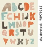 funky alphabet with textures on ...   Shutterstock .eps vector #98979365