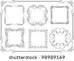 set of swirl calligraphic frame ... | Shutterstock .eps vector #98989169