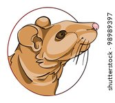 rat head in a circle  chinese... | Shutterstock .eps vector #98989397